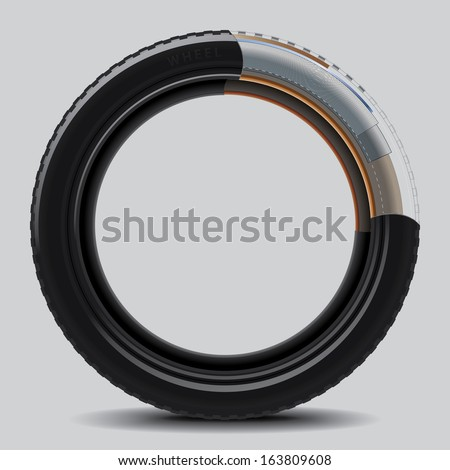Drawing of a car tire on a white background  - stock vector