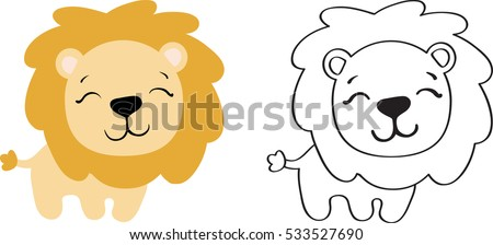 drawing of a cartoon cute toy lion in color and line art
