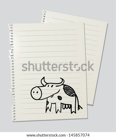Drawing of a cow on linkedd paper sheet - stock vector