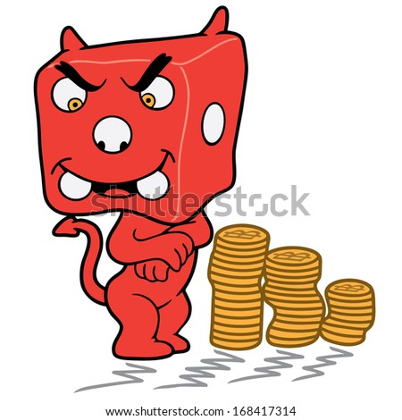 Drawing of a dice face devil character, and stack of golden coins - stock vector