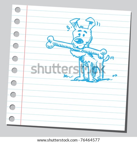 "Drawing of a dog eating a ""dog bone"""