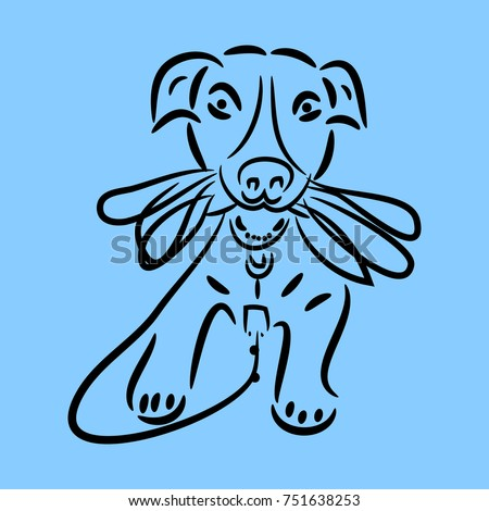 Drawing Of A Dog Holding Leash On Blue Background Vector
