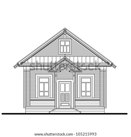 Drawing Front Facade Small Wooden House Stock Vector 105215993 ... - ^