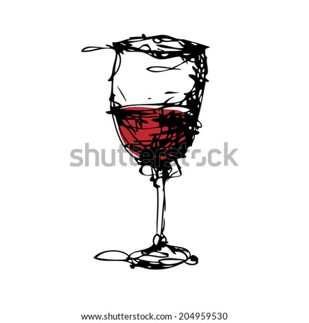 drawing of a glass of wine vector  - stock vector