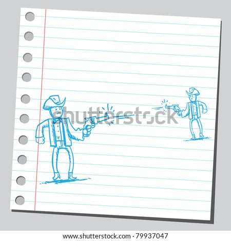 Drawing of a gunmen shooting