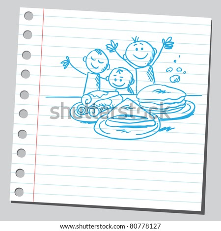 Drawing of a happy kids and pancakes - stock vector