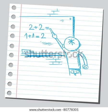 Drawing of a kid doing mathematics - stock vector