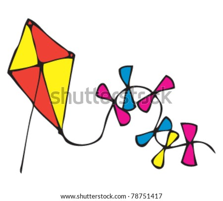 drawing of a kite - stock vector