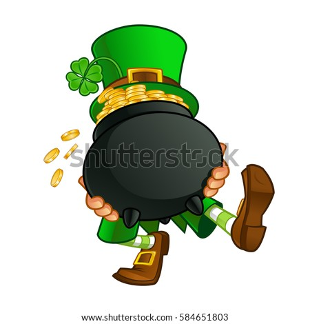 Cartoon leprechaun stock images royalty free images vectors drawing of a leprechaun he is carrying a pot with gold coins ccuart Choice Image