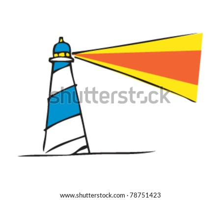 drawing of a lighthouse - stock vector