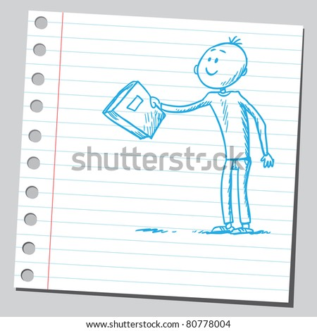 Drawing of a man giving a book - stock vector