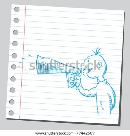 Drawing of a man holding and speaking in to megaphone - stock vector