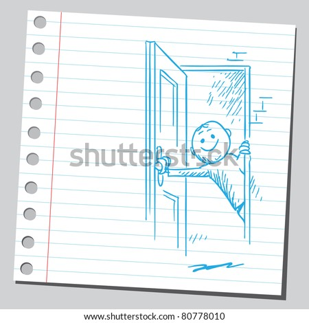 Drawing of a man opening the door - stock vector