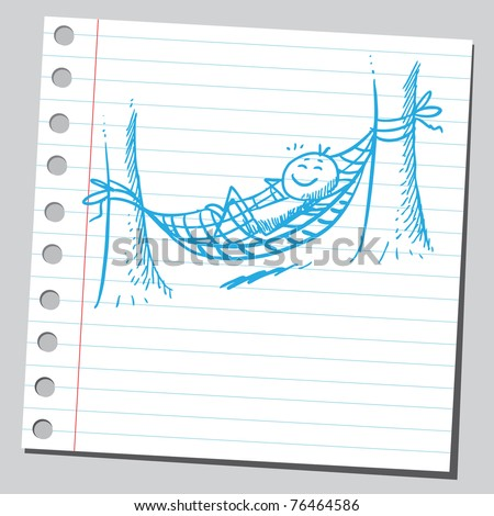 Drawing of a man resting in hammock - stock vector