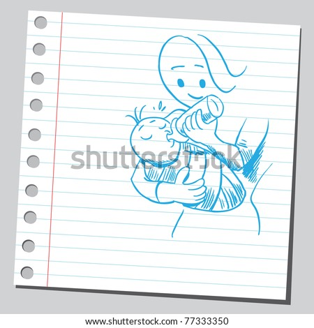 Drawing of a mother holding baby