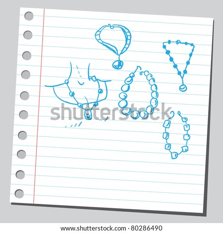 Drawing of a necklaces - stock vector