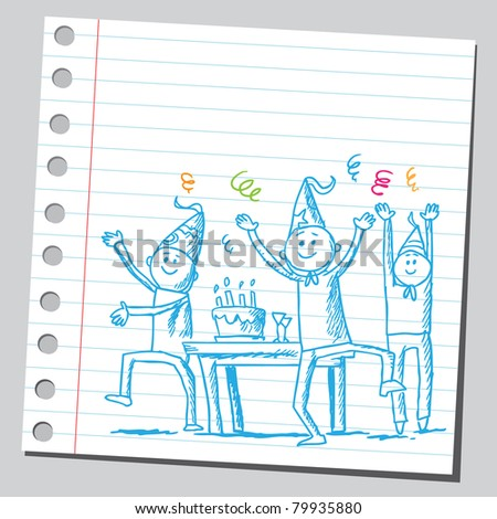 Drawing of a people having a party - stock vector