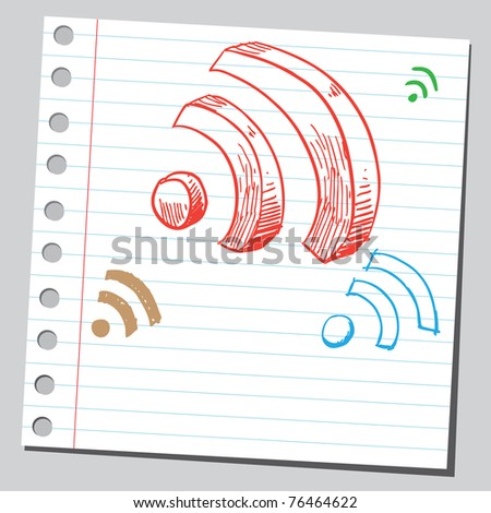 "Drawing of a ""radio signals"" signs - stock vector"