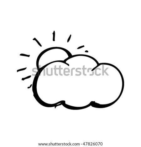 drawing of a sun and cloud - stock vector