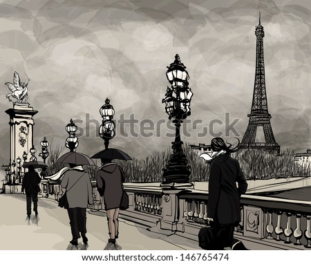 Drawing of a view of Alexander III bridge in Paris showing Eiffel tower. Nightfall  on a rainy autumn-winter day - Vector illustration. - stock vector