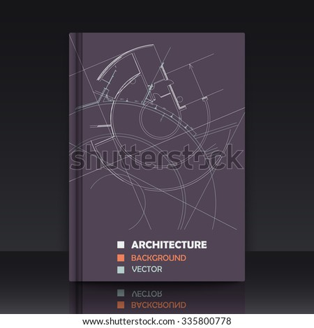 Drawing of abstract architectural detail on flat surface. Image of colorful blueprint. illustration with mockup of title sheet or book cover for fields of technology, science and manuals.