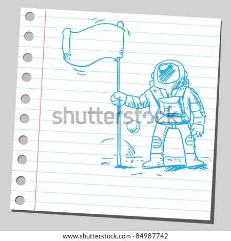 Drawing of an astronaut - stock vector