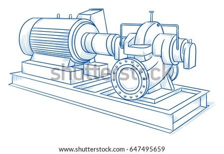 industrial pump diagram baldor reliance industrial motor diagram drawing heavy industrial water pump hand stock vector ... #5