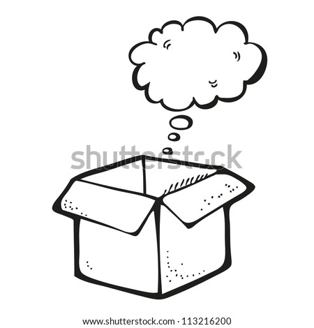 Drawing of box with thought bubble - stock vector