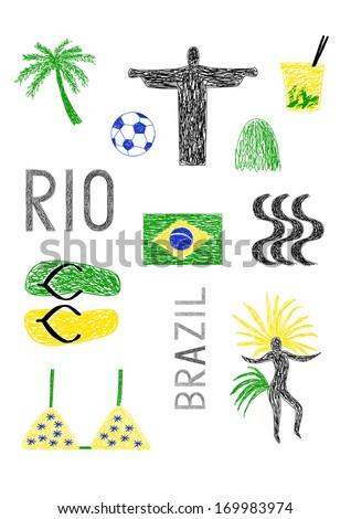 drawing of brazil symbols - stock vector