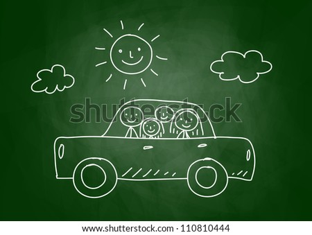 Drawing of car with family on blackboard - stock vector