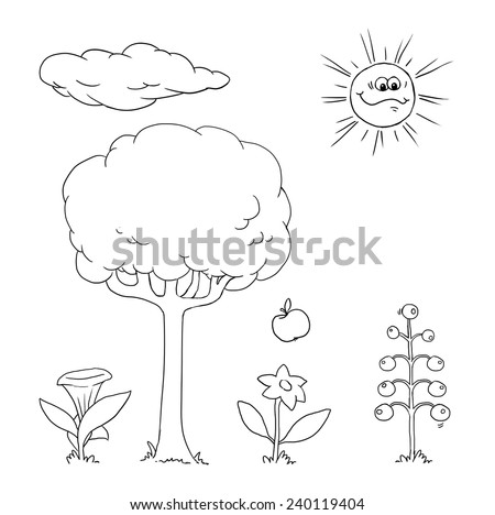 Drawing of cartoon objects, outlined - flowers, tree and sun - stock vector