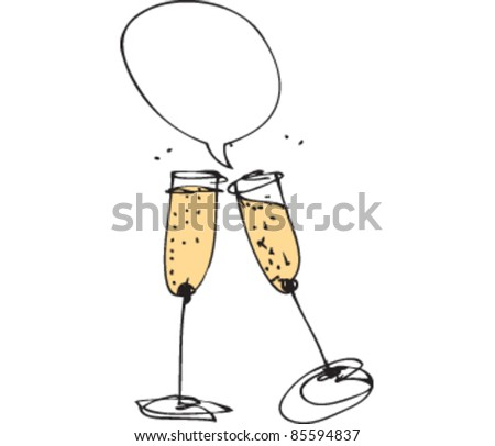 drawing of champagne glasses with speech bubbles