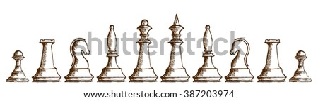 Drawing of chessmen.