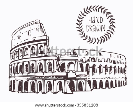 Drawing of Coliseum, Colosseum illustration in Rome, Italy. Attraction of the world, vector illustration - stock vector