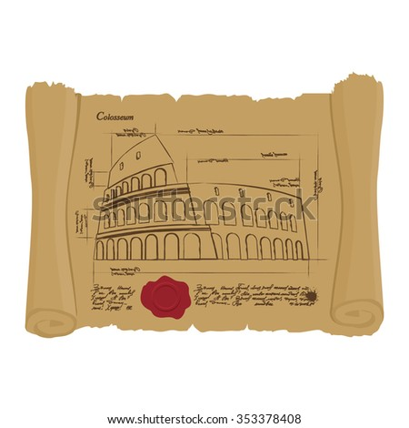 Drawing of Colosseum on Ancient scroll. Ancient architectural structure in Rome. Archaic architectural sights of Italy. Design of architecture in ancient papyrus. manuscript building - stock vector
