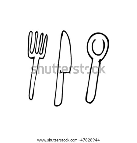 drawing of cutlery - stock vector
