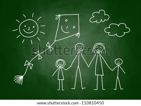 Drawing of family with kite on blackboard - stock vector