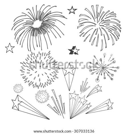 drawing fireworks stock vector 307033136 shutterstock firecracker clipart cartoon firecracker clip art black