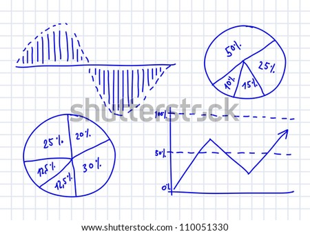 Drawing of graph on squared paper - stock vector