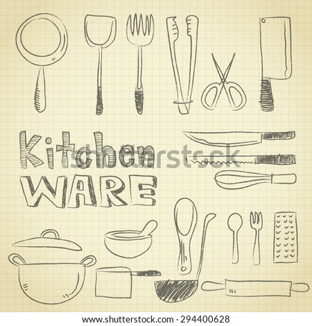 drawing of  kitchenware equipment on grid paper use for elements  design.