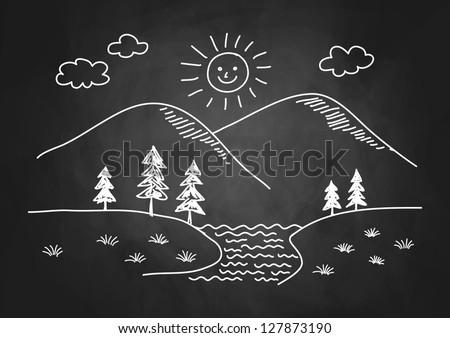 Drawing of landscape on blackboard - stock vector