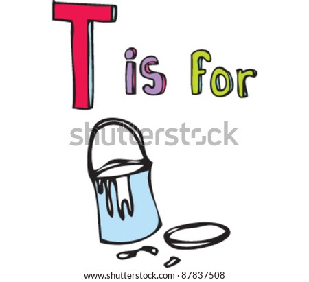 Drawing of Letter T is for tin