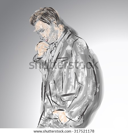 Drawing of man fashion style. Vector