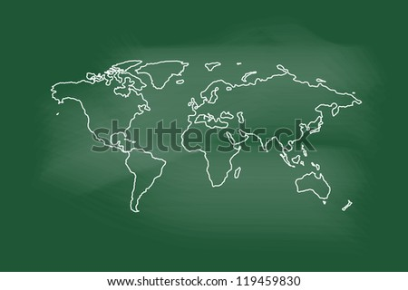 Drawing of map on blackboard - stock vector