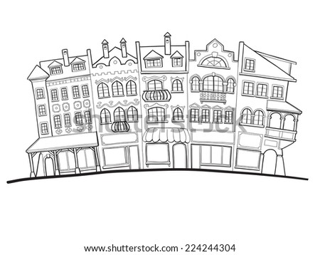 Drawing of old city street facades, houses and shops - stock vector