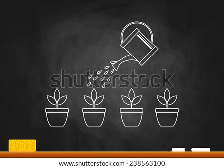 Drawing of plants on blackboard  - stock vector