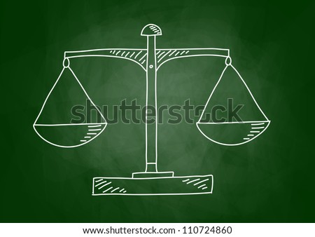 Drawing of scale on blackboard - stock vector