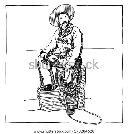 Drawing of sitting cowboy on white background