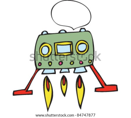 Drawing of Spaceship with speech bubble