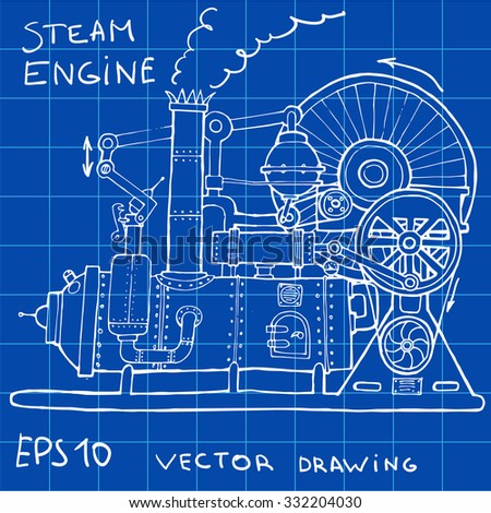 Drawing of steam engine. Hand drawn vintage illustration.Vector - stock vector
